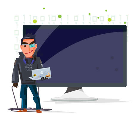 Hacker man with computer screen. presenting knowledge for cyber security concept - vector illustration