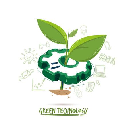 retoño con engranaje. concepto de tecnología verde - ilustración vectorial