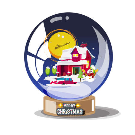 snowy house in winter with fullmoon in glass ball. x-mas or christmas - vector illustration