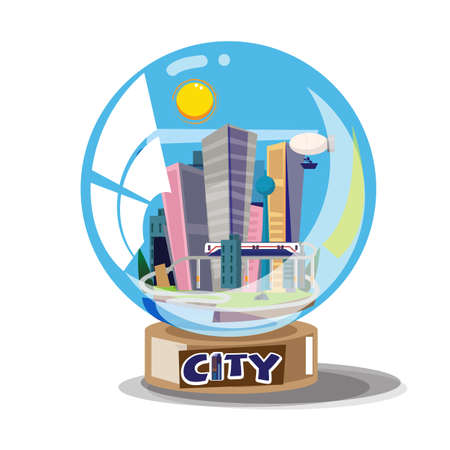 City building in glassball - vector illustration