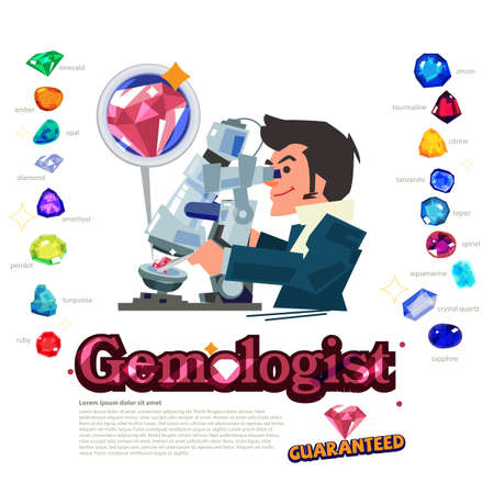 gemologist with type of jewelry stone - vector illustration