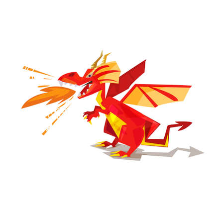 Red dragon with fire power. character design - vector illustration Иллюстрация