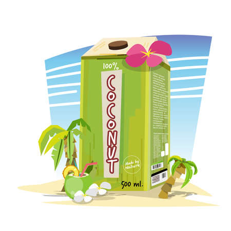 Creative coconut juice package design on the beach with coconut tree and flower. creative package juice concept - vector illustration