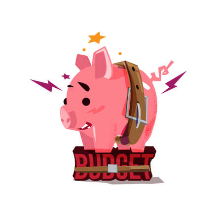 piggy bank tight with belt stand up on Budget text . tight budget concept - vector illustration Illustration