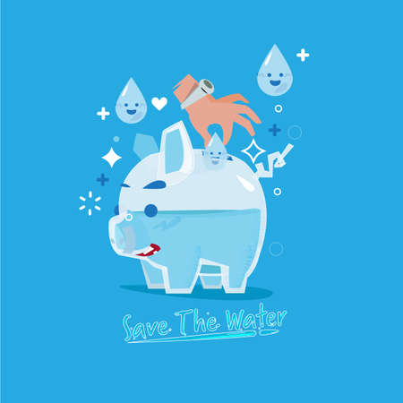 "human hand insterting droplet of water into glass piggy bank like a money coins. come with ""Save the water"" text in fluid style. save the water concept. - vector illustration"