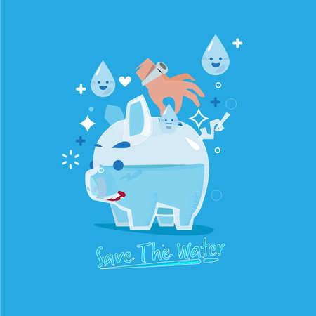 """mano humana insertando una gota de agua en una alcancía de vidrio como monedas de dinero. vienen con el texto """"Ahorre el agua"""" en un estilo fluido. guardar el concepto de agua. - ilustración vectorial"""