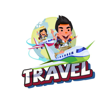 boy and girl traveler sitting on plane and fly across the planet earth with Travel typography. enjoy traveler concept - vector illustration