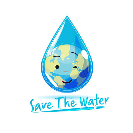 world globe inside droplet with text save the water in fluid style - vector illustration Çizim
