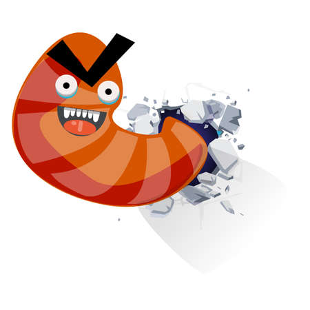 Worm monster from crack broken wall. character design - vector illustration 일러스트