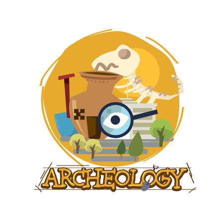 archeology museum with typographic design. icon of archeologu - vector illustration