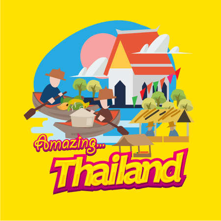 floating market in Thailand  with typographic. landmark of Thailand - vector illustration