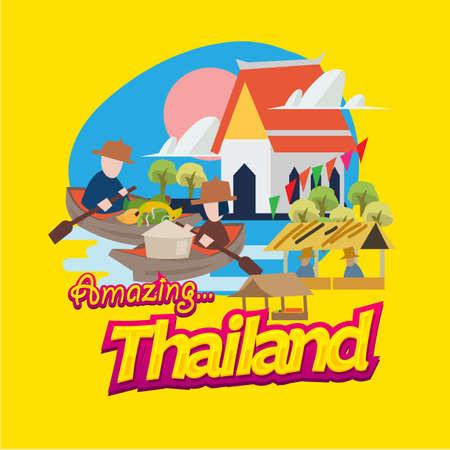 schwimmender Markt in Thailand mit typografischem. Wahrzeichen von Thailand - Vektorillustration
