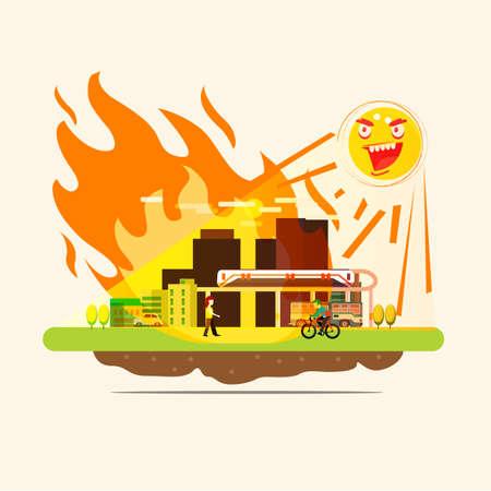 Sonnenbrand Stadt auf der Erde mit UV-Strahlung. Feuer in der Stadt - Vektorillustration