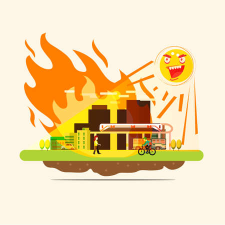 sun burning city on earth with UV radiation. fire on city - vector illustration