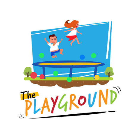 trampoline jump. kid jumpin on trampoline with Playground typographic - vector illustration