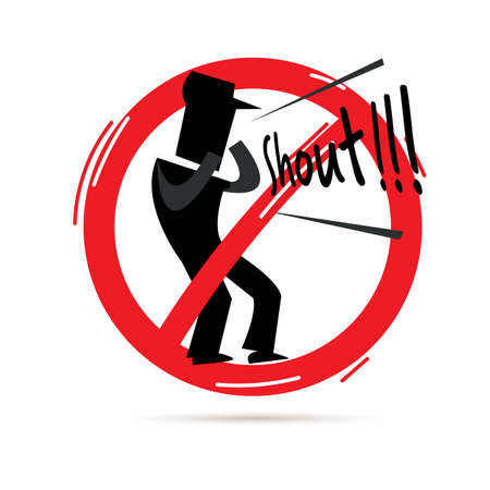 stop  to shout sign. icon of man shouting out in red stop sign - vector illustration