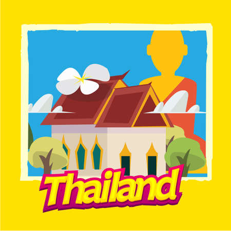Thai temple. main hall and Buddha statue in background with Thailand typographic. poster style - vector illustration