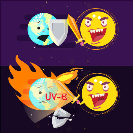 sun hitting earth with sword of fire. earth hurt and painful by fire. ultraviolet effect concept - vector illustration Illustration