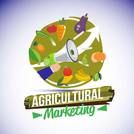 illustration de symbole de marketing agricole. mégaphone avec produit ahriculture. promouvoir pour le concept d'agriculteur - illustration vectorielle Vecteurs