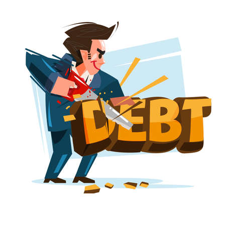Geschäftsmann, der das Schuldensymbol mit seiner Säge schneidet. Reduzieren Sie Ihr Schuldenkonzept - Vektorillustration Vektorgrafik