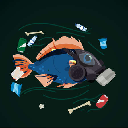 fish wearing gas mask swimming with full of garbage in the river - vector illustration