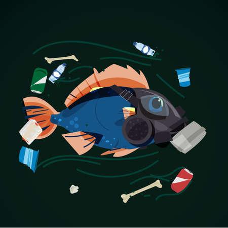 pesce che indossa una maschera antigas che nuota pieno di immondizia nel fiume - illustrazione vettoriale