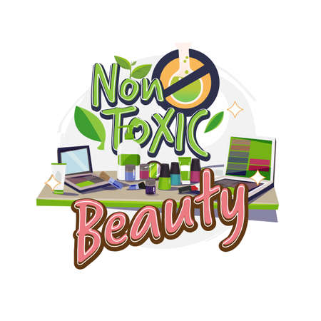 non-toxic cosmetic on table. non toxic beauty product with typographic - vector illustration