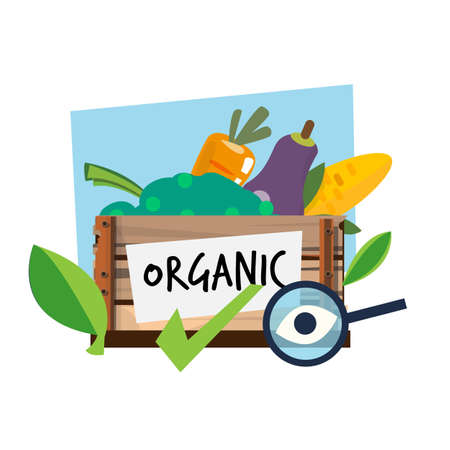 organic food in wood bucket with magnifier and check mark. Forganic - checking - vector illustration Иллюстрация