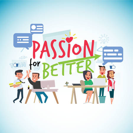 passion for work typographic with office people - vector illustration