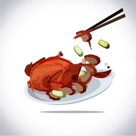 peking duct. roast duck searv in dish with sauce and cucamber. traditional chinese food - vector illustration