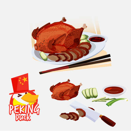Peking duct . Chinese cuisine concept. food elements. typographic or logo design - vector illustration Illustration