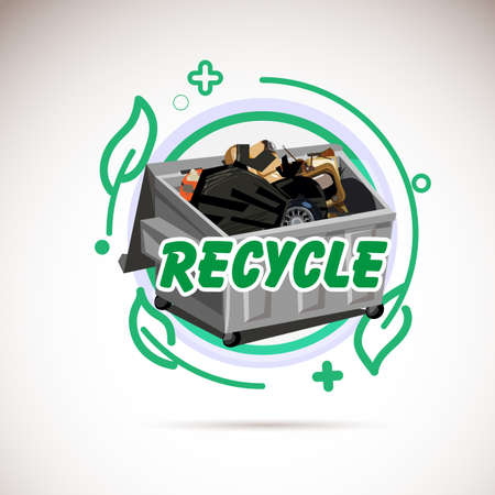 Garbage Bin with recycle trash . recycle typographic or icon - vector illustration Illustration