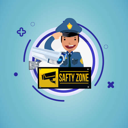 olice chacter design with CCTV or Surveillance camera. safty zone sign - vector illustration