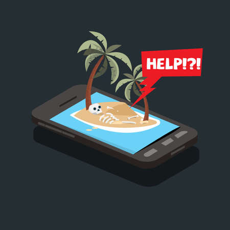 loanly island in smartphone and skull of dead human . Smart phone addiction concept-  vector illustration Banco de Imagens - 111952827
