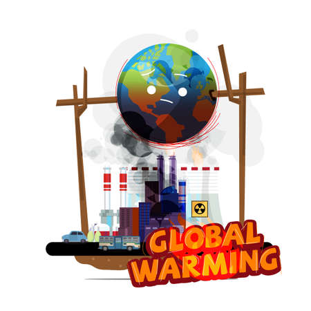 world globe on fire from earth factory and human. global warming concept - vector illustration