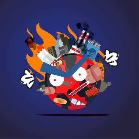 waste or pullation world are angry and upset. global warming concept - vector illustration