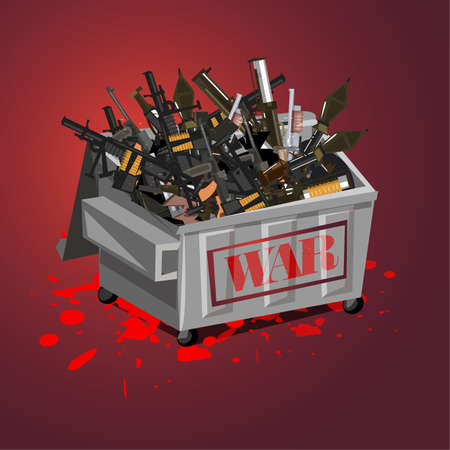 war weapon in garbage. stop war concept. stop the killing - vector illustration Illustration