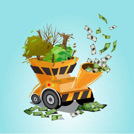 tree and wood into processing machine  or pulverizer machine with money as output. damage world for money. saving the tree concept  - vector illustration Ilustração