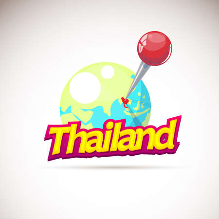 Huge pin points at the globe for Thailand map - vector illustration