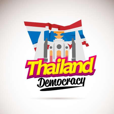 Demokratiedenkmal von Thailand mit thailändischer Flagge hinten - Vektorillustration in