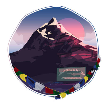 Annapurna moutain basecamp - vector illustration