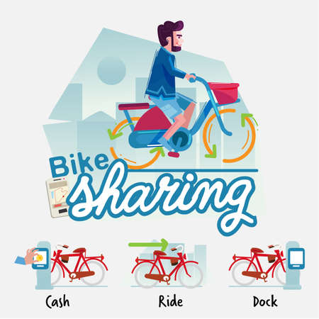 Man riding public bicycle in town, bicycle sharing information graphic concept - vector illustration