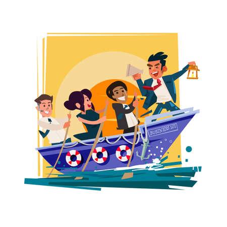 Businessman Boss Hold Megaphone dans le bateau avec le groupe d'équipe essayer d'aller de l'avant pour réussir, modèle ou leadership pour le concept de travail d'équipe - illustration vectorielle Vecteurs