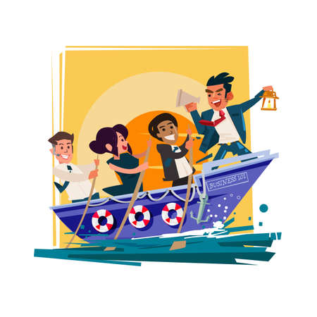Businessman Boss Hold Megaphone  in the boat with team group try to going forward for successful, role-model or leadership for teamwork concept - vector illustration