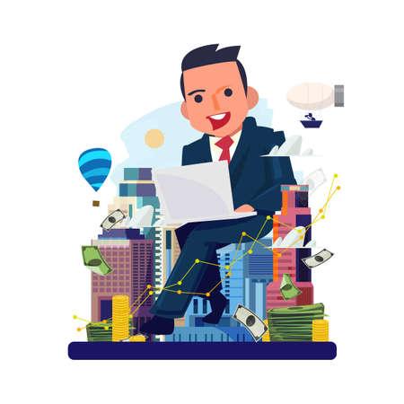 Geschäftsmann, der von Laptop mit Stadt im Hintergrund arbeitet. Immobilienmakler. Immobilienentwickler. Geld verdienen mit Immobilienkonzept - Vektorillustration