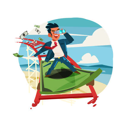 businessman riding on banknote as roller coaster.Business or Finance conceptual - vector illustration