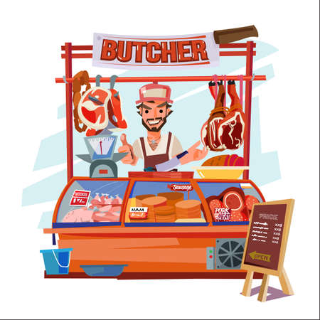 butcher with his shop - vector illustration