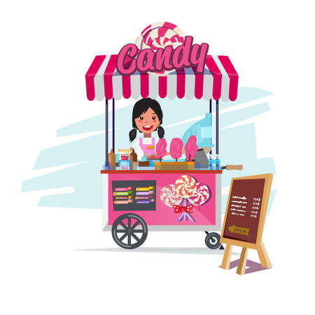 candy cart with cute seller. cart or food truck concept - vector illustration 일러스트