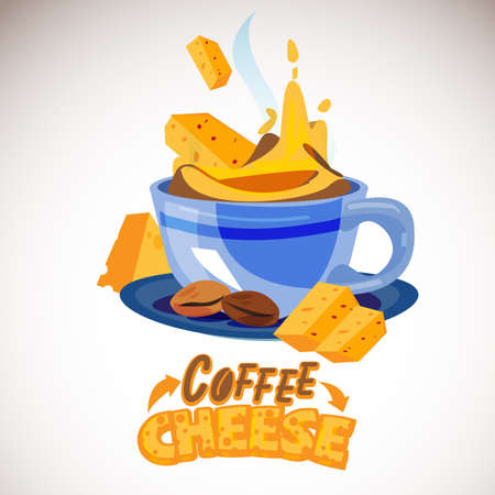Cheese coffee. cheese floating and mixing with coffee come with typographic or logotype - vector illustration 向量圖像