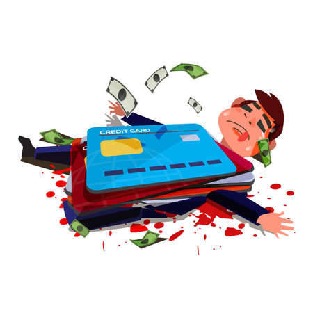 Credit card hitting over businessman. businessman die or injury because of credit card. Credit Card Debt When You Die  - vector illustration